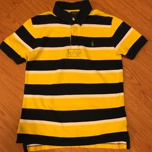 Yellow Blue White Striped Ralph Lauren Polo M10/12